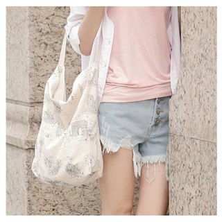 Nature series _ Europe and France shoulder backpack construction cotton cloth