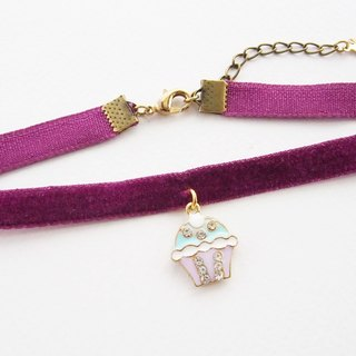 Purple velvet choker/necklace with cupcake charm
