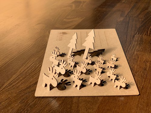 [EyeDesign see three-dimensional design] Christmas black card / kraft paper card - Tree Light Station deer