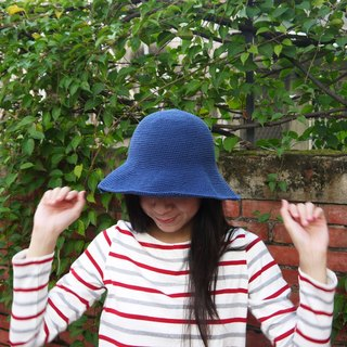 Mama の hand-made hat - handmade cotton rope crocheted hat / wide-brimmed hat - blue jeans / gifts / Mother's Day