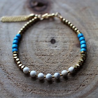 Muse natural wind series NO.14 turquoise white plessite brass bracelet