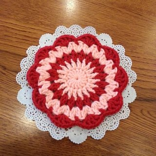 [Knitting] flower coasters - red and pink Waltz