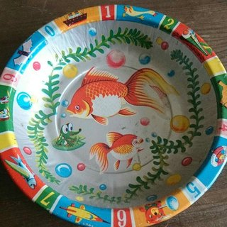 Made in Japan 16cm Tin Gold fish plate 16 cm iron antique Nippon goldfish dish