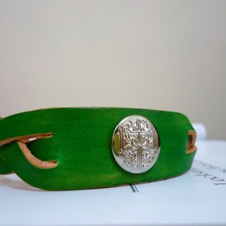 The Leather Bracelet with ornamental button -- Green color