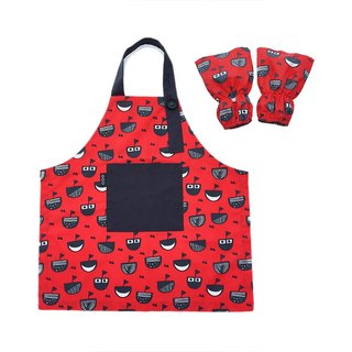 Waterproof toddler apron sleeve set, Art Craft, Painting, Baking, Red