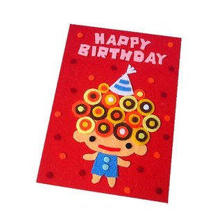 Handmade non-woven card _ curly little boy, little girl birthday card