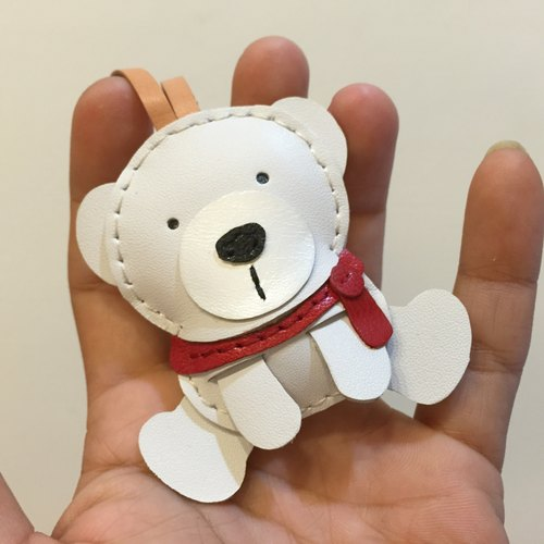 Handmade leather} {Leatherprince Taiwan MIT cute white polar bear hand sewn leather strap / Julian the Polar Bear leather charm in White (Small size / small size)