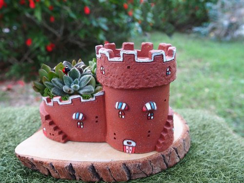 Garden Castle Garden] [hand-made pottery - King's Garden Castle (Red Rock) / Ceramic Castle / 3 stairs, double Garden