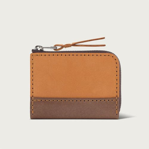 "LINTZAN ""hand-stitched leather"" hit color zipper short clip / purse / wallet - camel yellow"