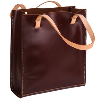 Burgundy hand-made hand-picked Tote bag leather shoulder bag hand first layer of leather bags