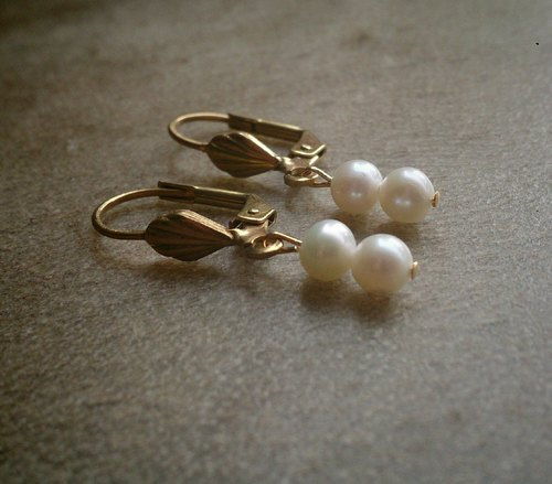 Brass double pearl earrings