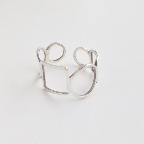 "[Order production] 950 Silver Square & Circle design Ring ""flexible"" <unisex> 7-20 No."