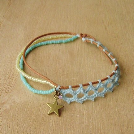 Small lace on the 28th. Great small travel (blue). Forest Department braided bracelet. star. Lace. Asymmetry. Multilevel