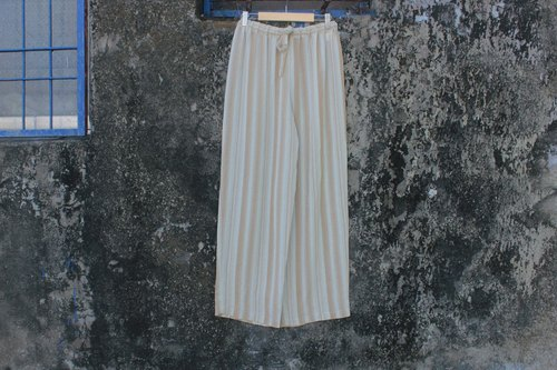 Apricot meters wide stripe elastic waist pants
