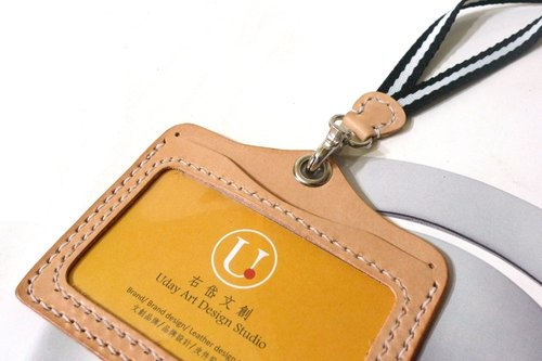 Horizontal arc double simple badge hanging rope hanging _ + taste vegetable tanned leather colors