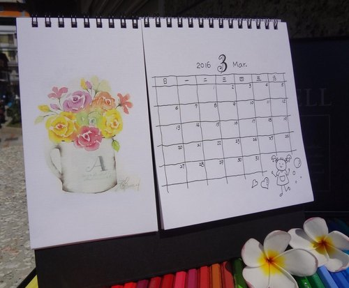 2016 watercolor desk calendar