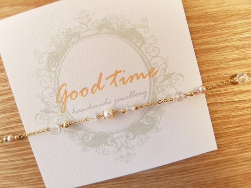 | Touch of moonlight | irregular, strong blue moonstone natural pearl bracelet Multi-Gemstone