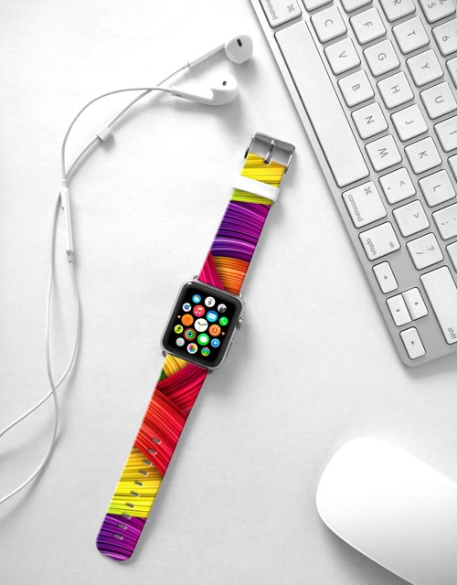 Apple Watch Series 1 and Series 2 - Abstract Art pattern colourful brush Watch Strap Band for Apple Watch / Apple Watch Sport - 38 mm / 42 mm avilable