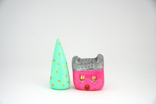 Little House Little House - meow star people English country house (pink) / green cedar