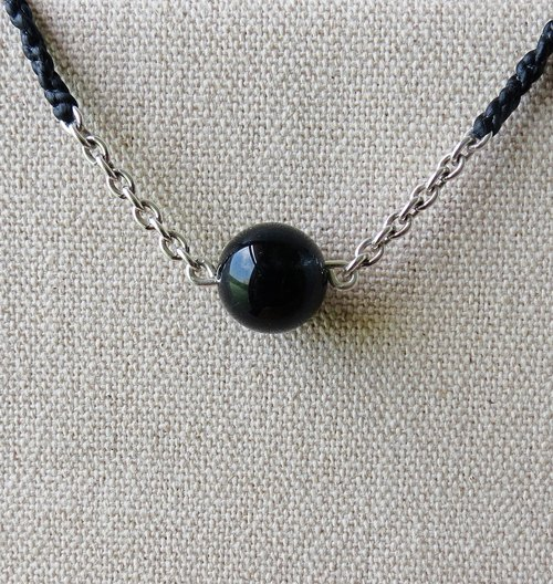 "[Opium poppy ﹞ ﹝ love ‧ chain] Silver ****fashion ""lucky stone"" black wax line silk blue hair crystal necklace**increase confidence ** [four shares of series]"