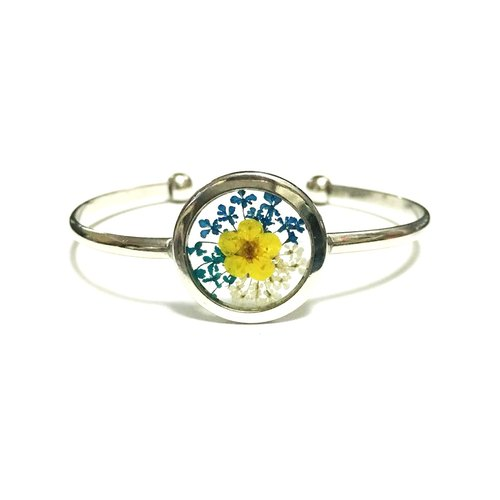 REVERIE JEWELLERY - Silver Frame Bangle (Transparent pressedflower bracelet)