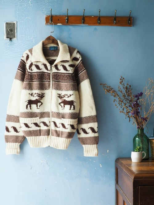 River Hill - Love on the elk winter sleigh Jin Dynasty antique vintage coat zipper turtleneck sweater vintage oversize