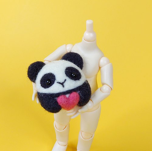 <Wool felt> Hugging Panda with Love (M Size) #necklace with adjustable string #keychain #brooch #hair tie by WhizzzPace