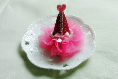 PATRY veil birthday party hats veil hat hairpin - (Pink)