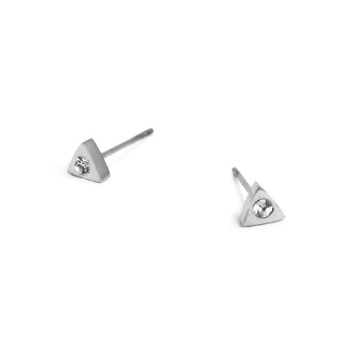 Bibi Fun carefully selected series - a small triangle diamond ear acupuncture / Silver (mail free transport)