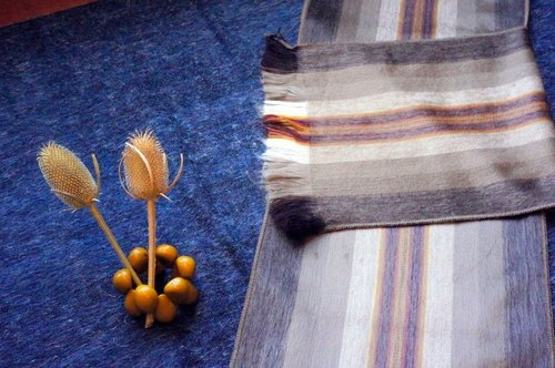 Vista [knowledge], South America, handmade alpaca scarves ‧ camel color pattern lines