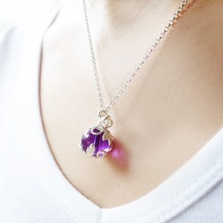 <BLOSSOM> Limited Amethyst Silver Floral Pendant