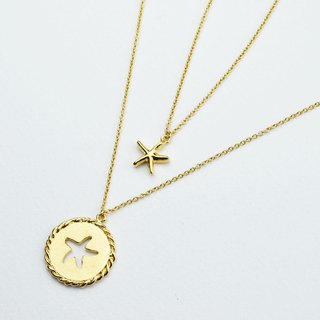 Starfish - Mermaid princess series (K gold plated necklace) - C percent handmade