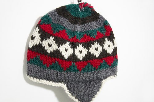 Valentine's Day gift hand-knit wool hat / hand-knit cap within the bristles / flight caps / knitting caps / wool cap - red & gray Eastern European style geometric patterns (manual limits a)