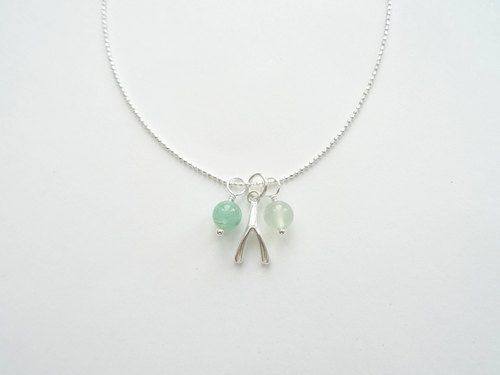 Aventurine & New Mountain Jade Wishbone Sterling Silver Necklace - Green