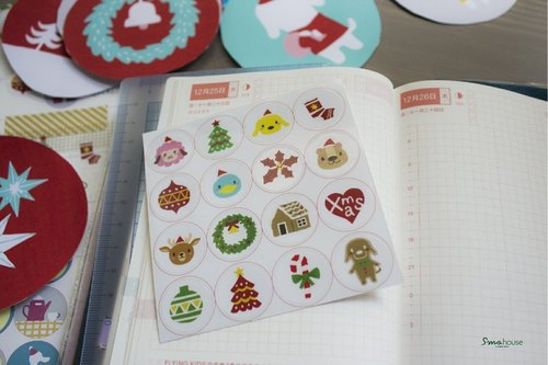 {X'mas} Christmas transparent small round stickers - Christmas Party