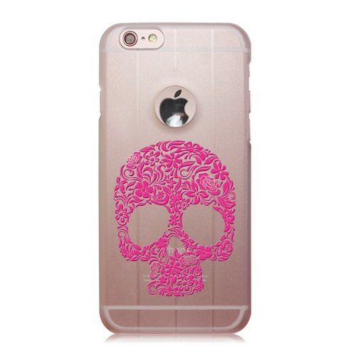 iPhone 6 / 6S [hand-painted flowers skeleton skull - pink] Christmas transparent shell 3D stereoscopic relief Lei heavy machinery phone shell money card, love loving boutique design