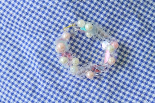 Transparent spectrum | Exclusive Japanese excited Moetan product blending wool sequined pink pearl bracelet braided bracelet