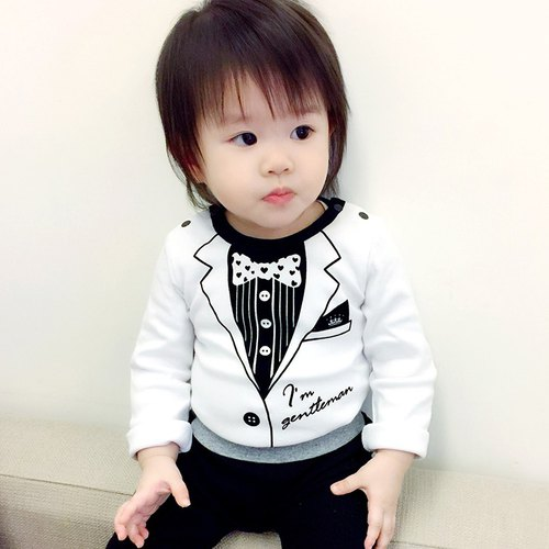 PUREST baby collection small gentleman suit long sleeve one-piece male baby bag fart clothing [white section] exclusive style design