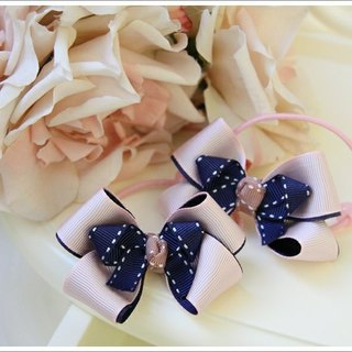 Temperament pink bow hairpin stereo / tress