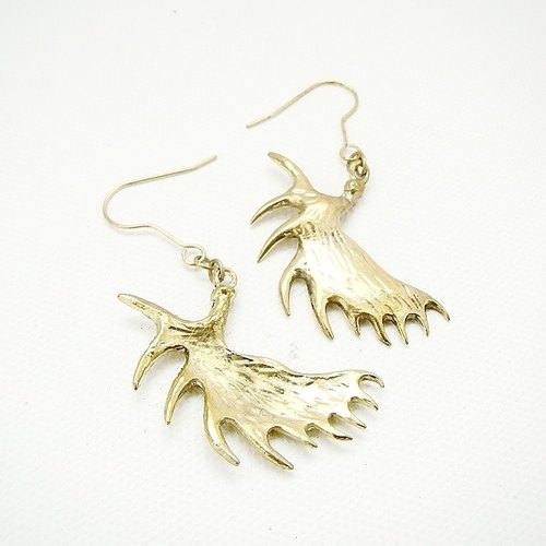 Moose horn earring in brass
