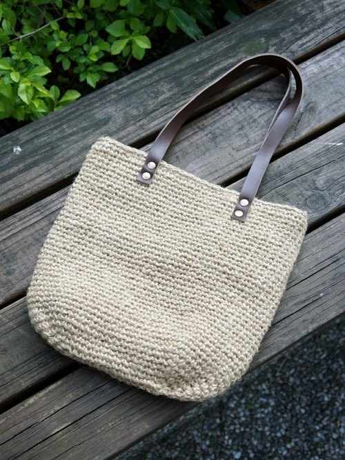 秋日編織風手提包_束口型 hemp bag (purse-string bag)