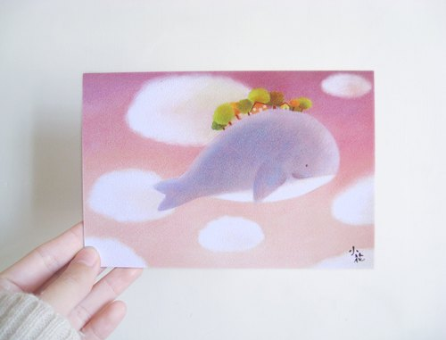 Cute animal illustration card postcard (whale)