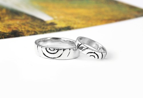Custom Valentine Ring Wave ripples sterling silver couple rings -64DESIGN