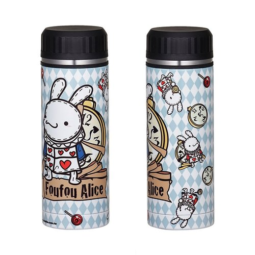 """Foufou"" 2013 stainless steel insulation cold bottle - clock rabbit (blue)"