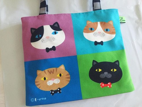 E * group shoulder bags double-sided design (A meow four-frame) canvas shoulder bag cat bag shoulder bags