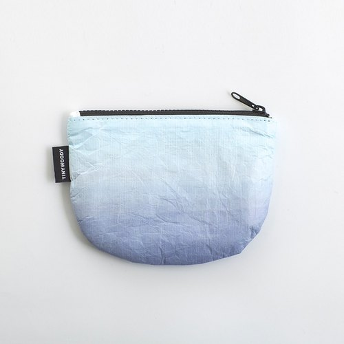 "TINYWOODY Tyvek Paper-like / Coin Purses	/Zipper Pouch ""sea-blue"""