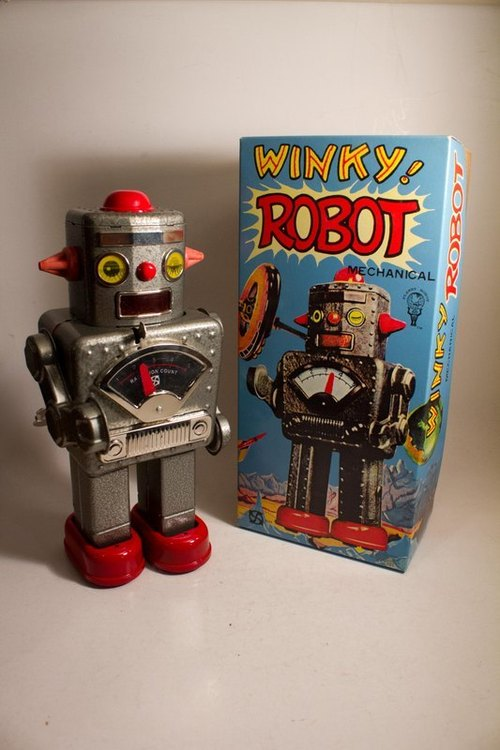 Limited production of 200 attached identity card clockwork tin robot start WINKY ROBOT wink