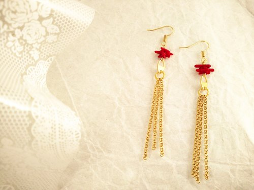 ☆ Yanhong ☆ bright red earrings