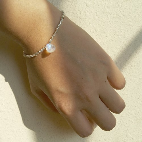 Moonstone / Moonstone custom handmade 925 sterling silver spacers irregular bracelet (Moonstone Size 10- 11mm long)
