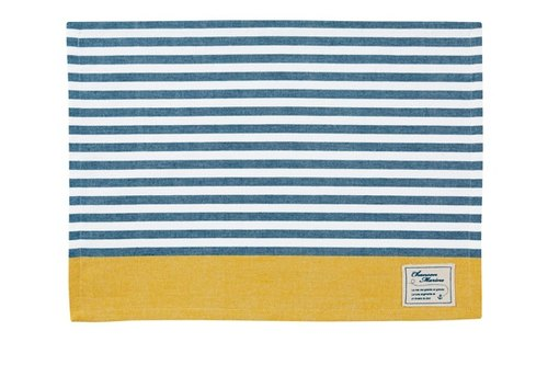 Chanson navy blue horizontal stripes of yellow color tannins weaving placemat
